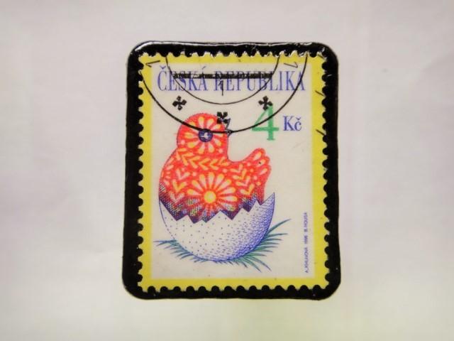 チェコスロバキア クリスマス切手ブローチ198