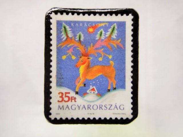 ハンガリー クリスマス切手ブローチ200