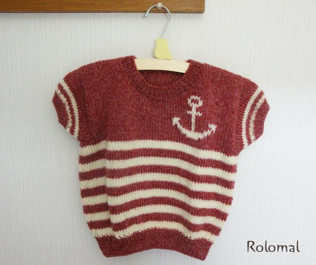 Kids 冬マリン♪イカリモチーフのニット★手編みセーター【K04】