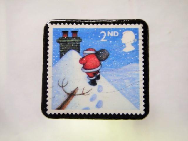 アメリカ クリスマス切手ブローチ208