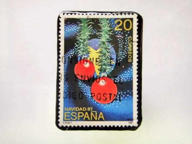 スペイン クリスマス切手ブローチ213