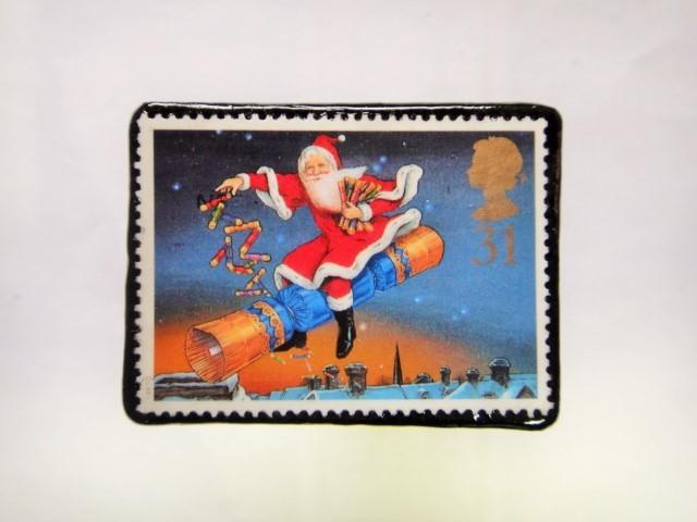 イギリス クリスマス切手ブローチ227