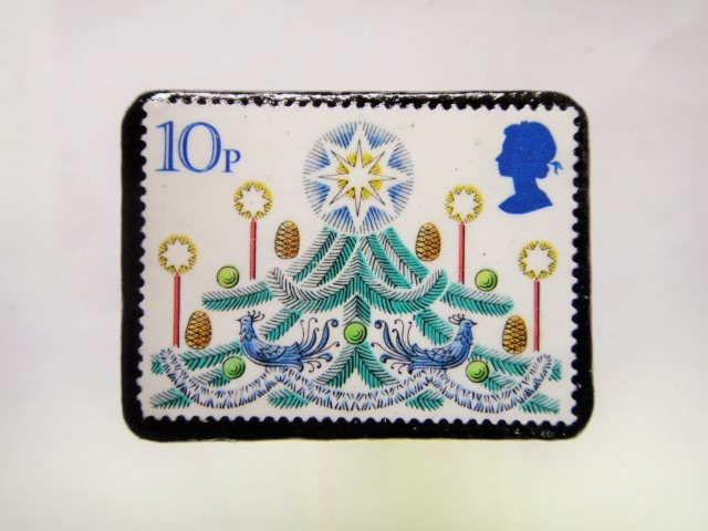 イギリス クリスマス切手ブローチ228