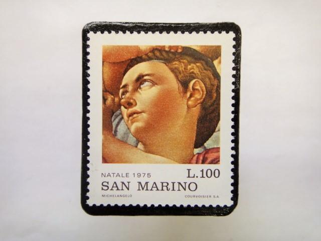 サンマリノ クリスマス切手ブローチ237