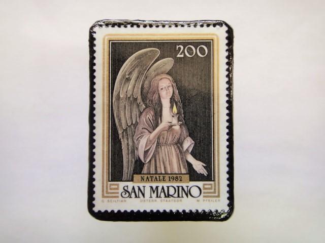 サンマリノ 天使切手ブローチ242