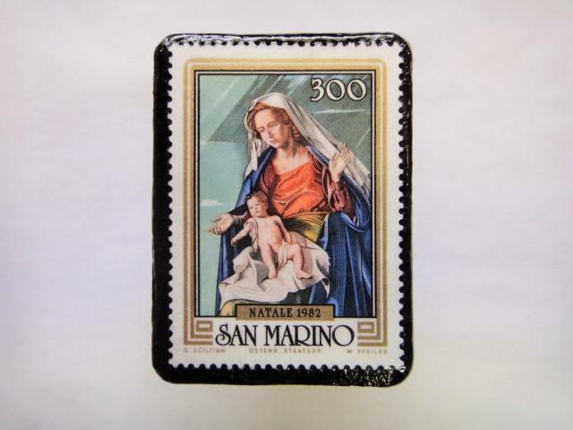 サンマリノ クリスマス切手ブローチ244
