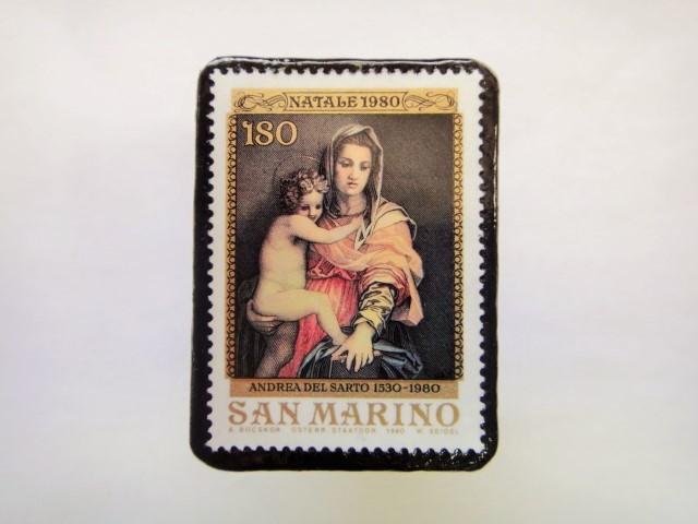 サンマリノ クリスマス切手ブローチ245