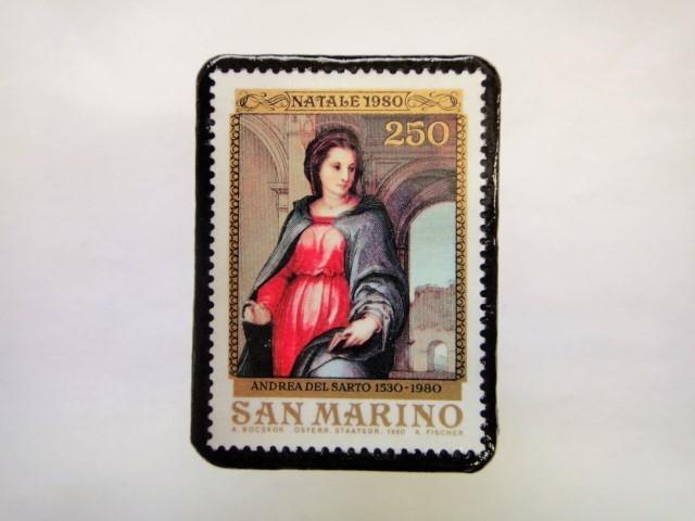 サンマリノ クリスマス切手ブローチ246