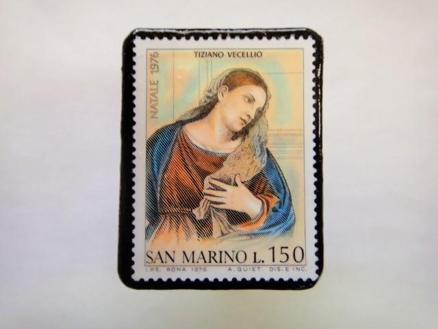 サンマリノ クリスマス切手ブローチ247