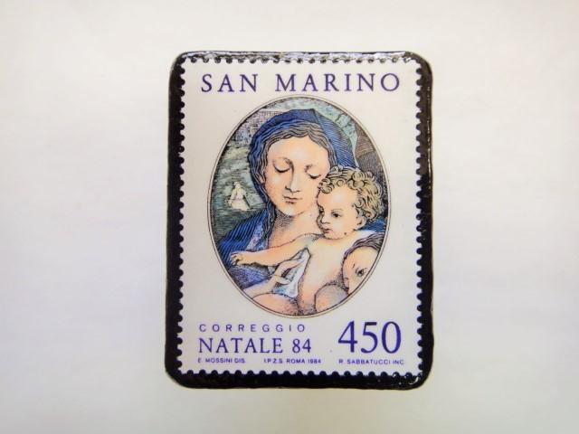 サンマリノ クリスマス切手ブローチ250