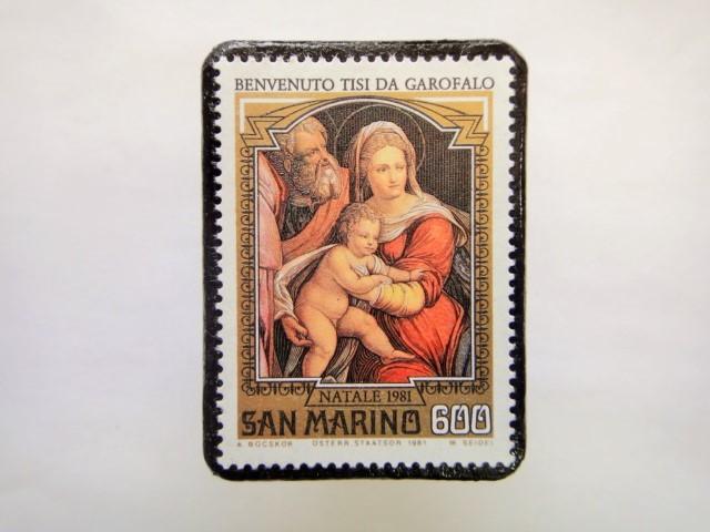 サンマリノ クリスマス切手ブローチ252