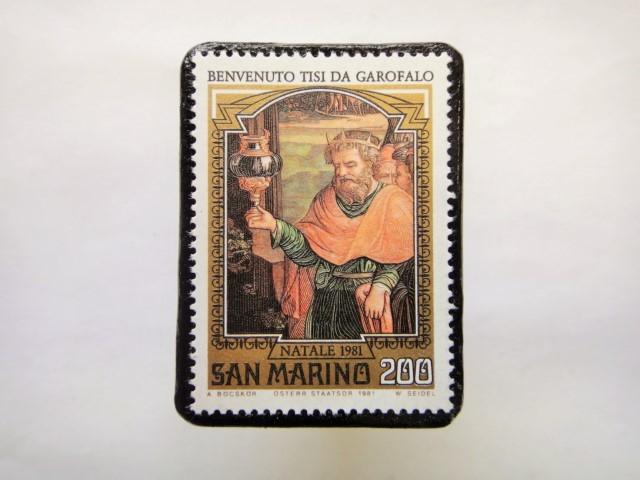 サンマリノ クリスマス切手ブローチ253