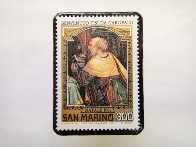 サンマリノ クリスマス切手ブローチ254