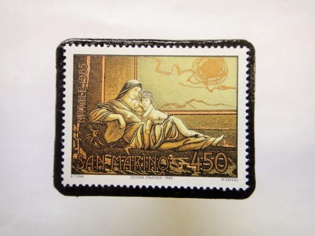 サンマリノ クリスマス切手ブローチ256