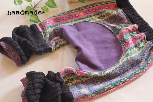 70〜80*くしゅくしゅレッグ付モンキーパンツ*紫チロル