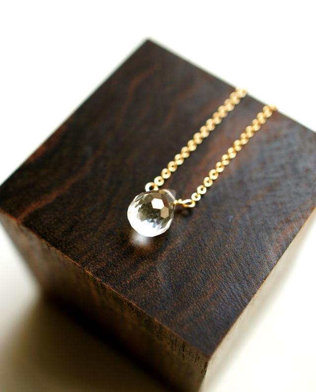再販】クリスタルの一粒ネックレス 〜Kristina