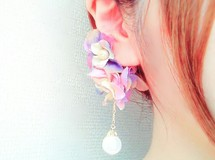 lady flower purple ear cuff