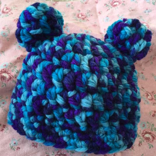 ブルー系クマ耳帽子