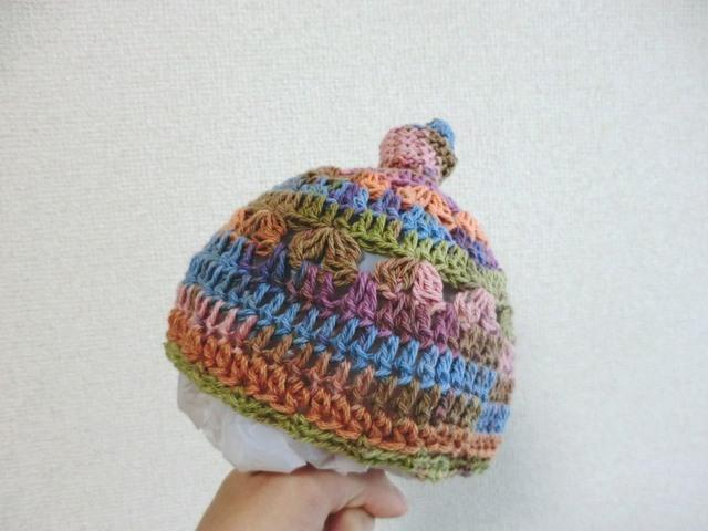 小さなベビーのカラフルニット帽子 38cm
