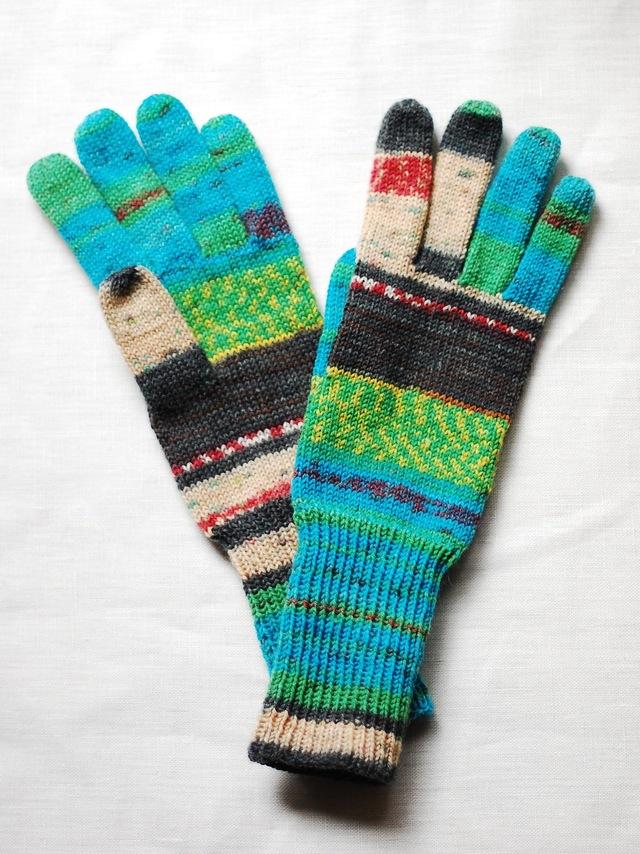 手編み5本指手袋 No.44