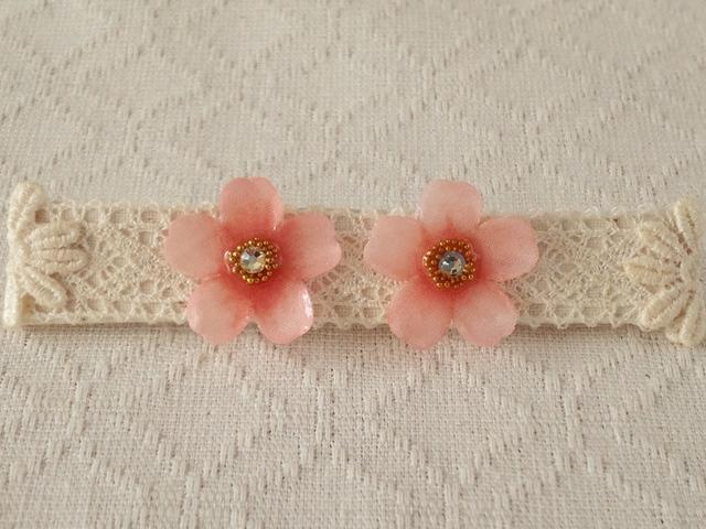 染め花を樹脂加工した桜ピアス(ピンク)