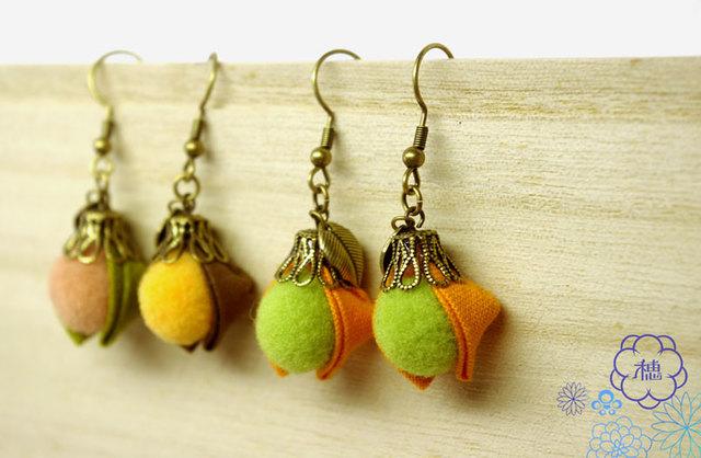 *秋コレ*【とある木の実のピアス (橙) 】
