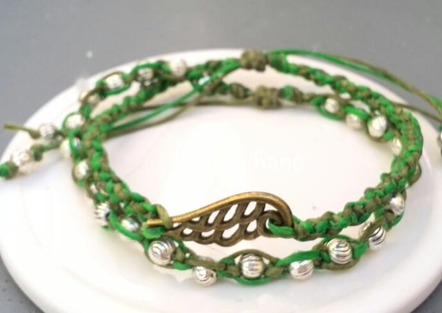 マクラメ編みのブレスレット2連*緑×深緑*