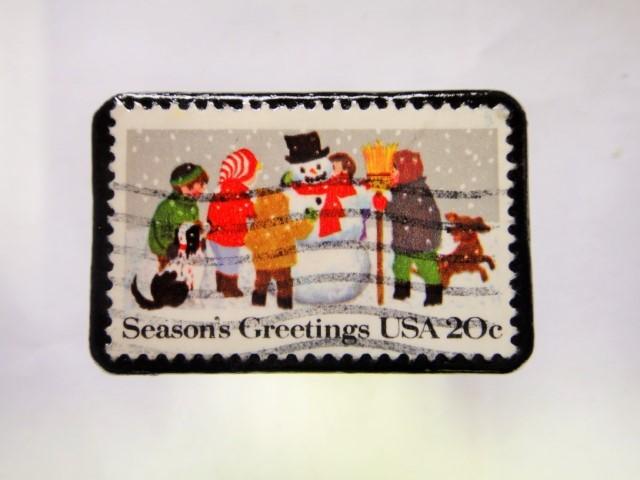 アメリカ クリスマス切手ブローチ277