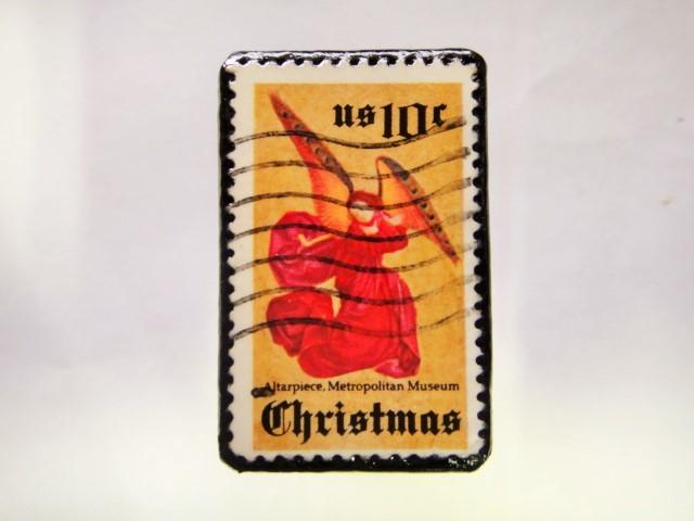 アメリカ クリスマス切手ブローチ279