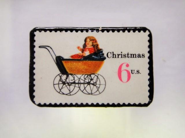 アメリカ クリスマス切手ブローチ280