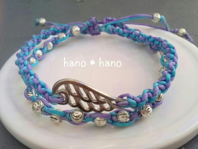 マクラメ編みのブレスレット2連*青×薄紫*