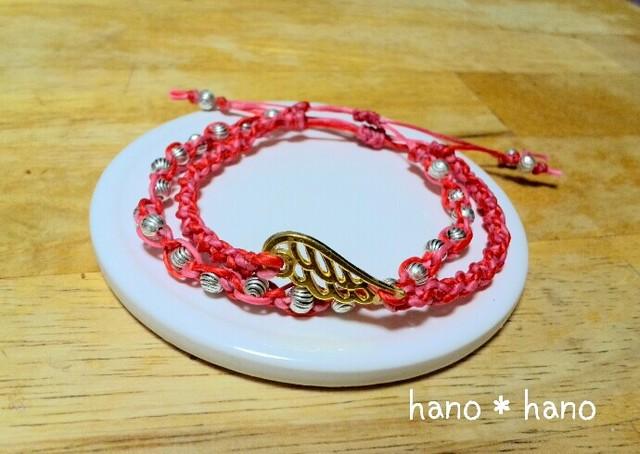 マクラメ編みのブレスレット2連*赤×ピンク*