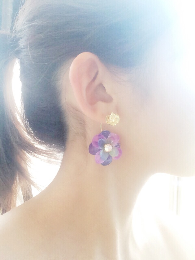 glass flower pierce☆purplish