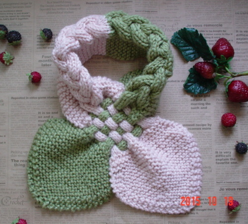 ☆彡お抹茶色&淡桜色のバイカラーのガーター編みと交差織り