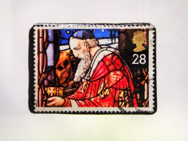 イギリス クリスマス切手ブローチ292