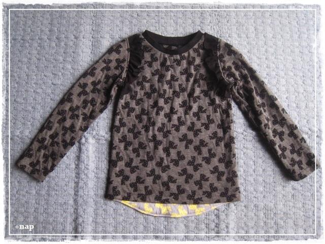 フリル長そでTシャツ(リボン・DG )・110