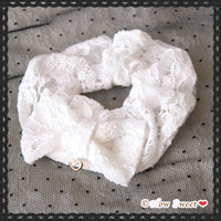 【HowSweet*】Lace Ribbon Chouchou*[white]