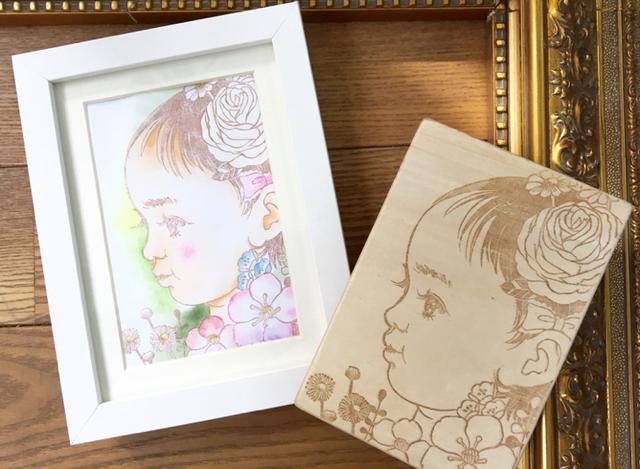 【ご予約】誕生花の似顔絵版画