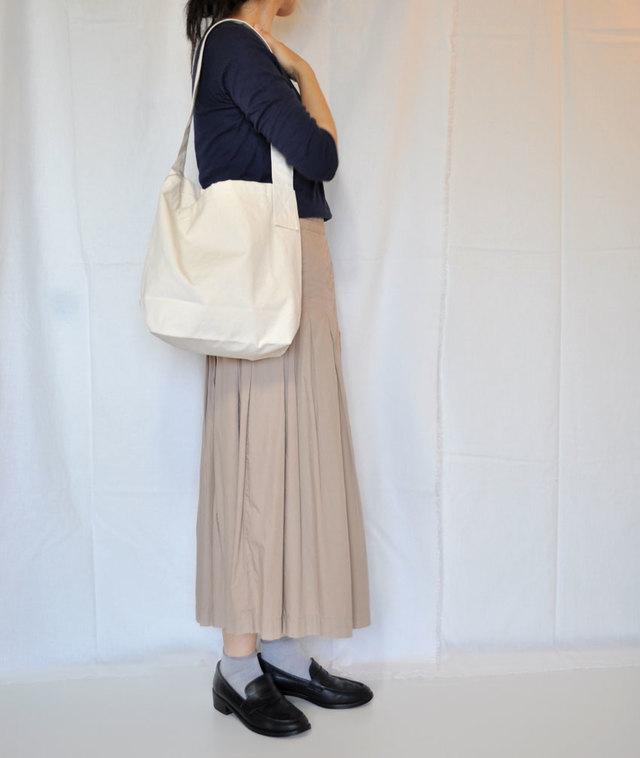 ギンガムポッケの帆布バッグ