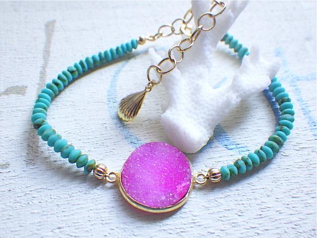 Druzy Beach Bracelet---pink druzy