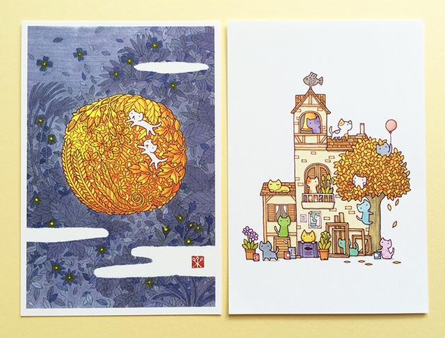 秋過ごすネコたち【絵葉書二枚組】
