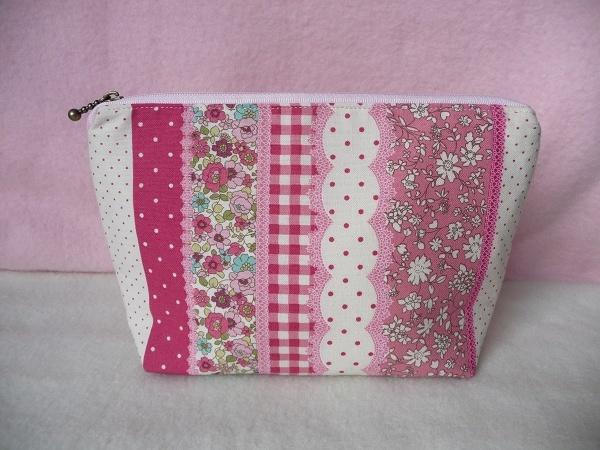 ファスナーポーチ(Flower Pink Line)