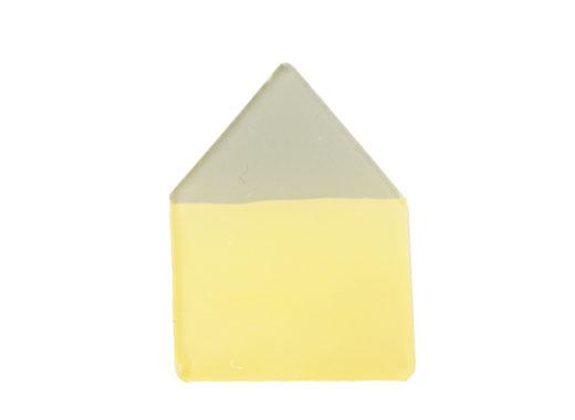 グリーン屋根の黄色いおうちブローチ