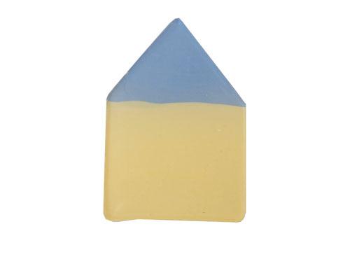 水色屋根の黄色いおうちブローチ