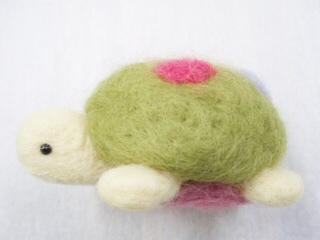 羊毛フェルト 赤ちゃんのカメさん(抹茶7 )
