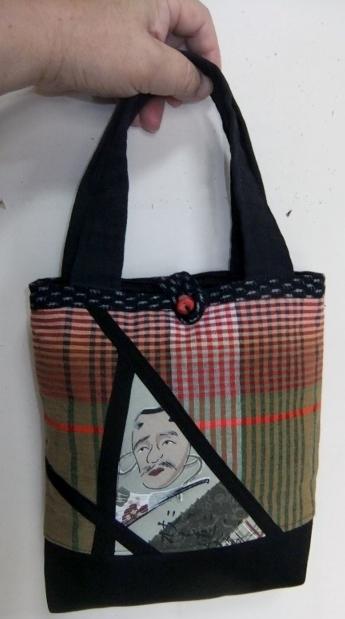 着物リメイク 関東綿で作ったミニ手提げ袋 713