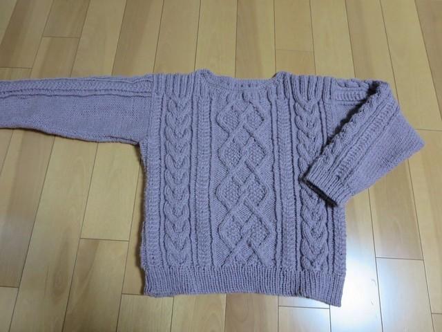 アラン模様の婦人セーター
