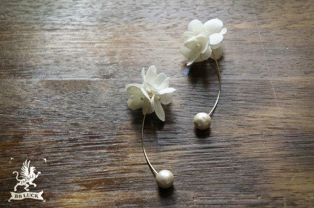 pierce 【 ちいさな紫陽花とコットンパールのピアス 】