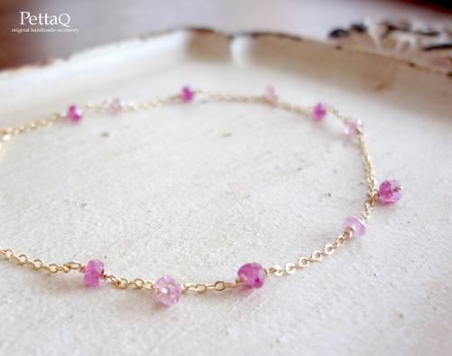 【K14GF】ピンクサファイア・ルビーのブレスレット
