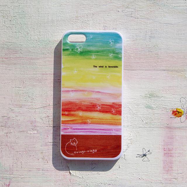 【送料無料】レインボーな追い風(ねこもいてます) iPhone case(5/5S)